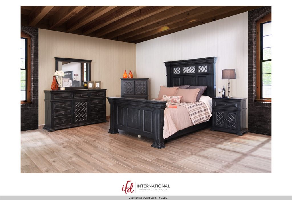 Ifd imperial black bedroom group marshall 39 s cost plus for X furniture warehouse